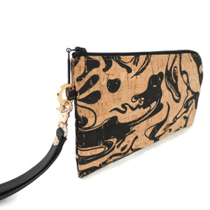 Phone Wristlet in Black Ink Cork