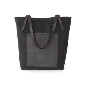 Pocket Tote in Black Twill with Black Cork