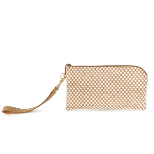 Phone Wristlet in White Check Cork
