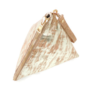Triangle Clutch in Brushed Cork