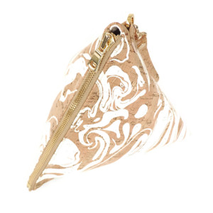 Triangle Clutch in White Ink Cork