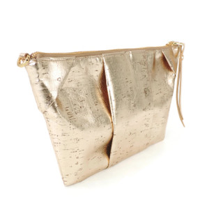 Pleated Clutch in Gold Cork