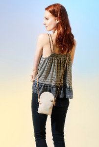 Phone Crossbody in White Cork