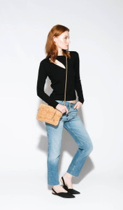 Cork Strap Crossbody Purse in Black and Gold Cork