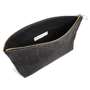 Carryall Clutch in Black and Gold Cork