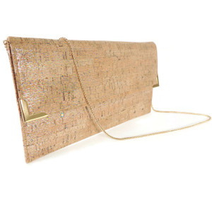 Folio Clutch in Metallic Multi Cork