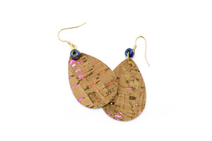 Teardrop Earring in Rainbow and Natural Cork