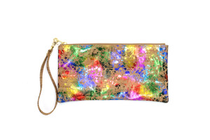 Rainbow Cork Wristlet with Strap