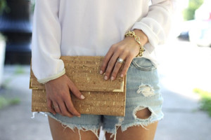 Folio Clutch in Marble Cork