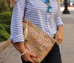 Carryall Clutch in Multicolor Cork