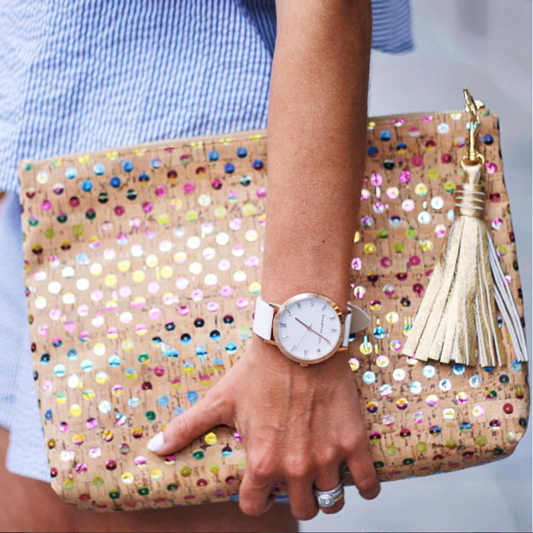 Carryall Clutch in Spectacular Sequin Cork