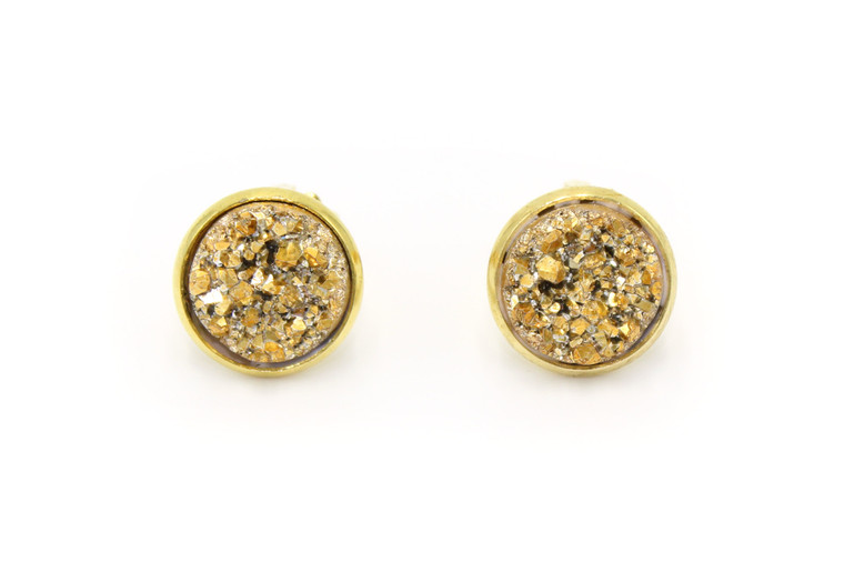 Gold Nugget Druzy Clip-on