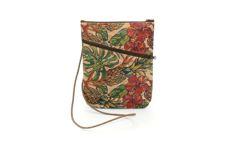Social Bag in Cork with Pineapple and Flowers
