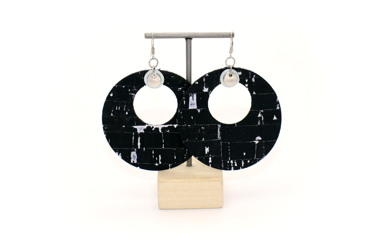 Big Circle Earrings in Black and Silver Cork