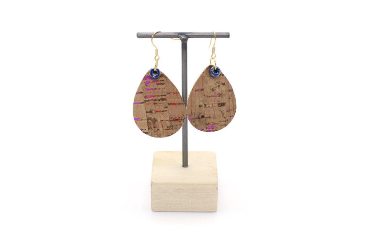 Teardrop Cork Earring in Natural Cork with a Rainbow of colors!