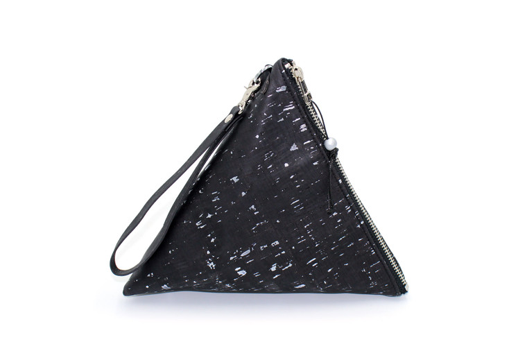 Triangle Wristlet in Black and Silver Cork