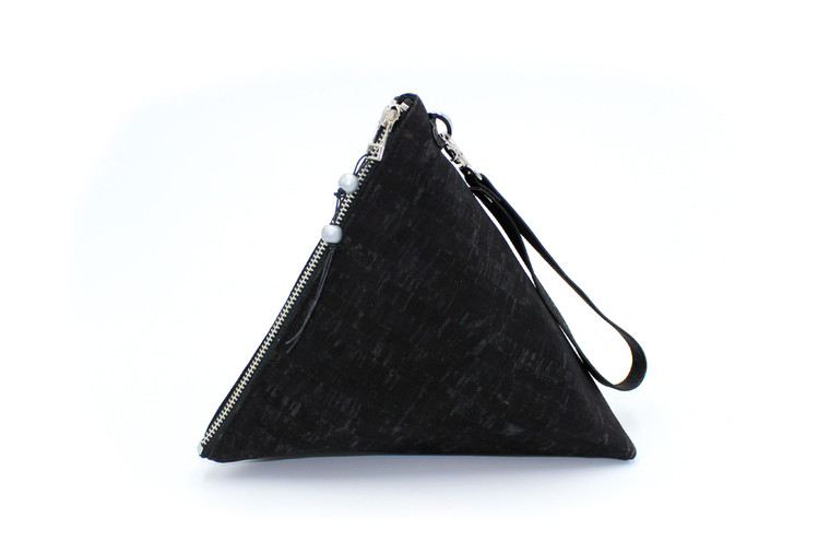 Triangle Bag in Solid Black Cork
