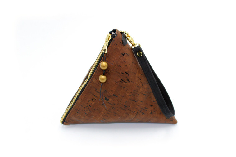 Triangle Bag in Dark Brown Cork