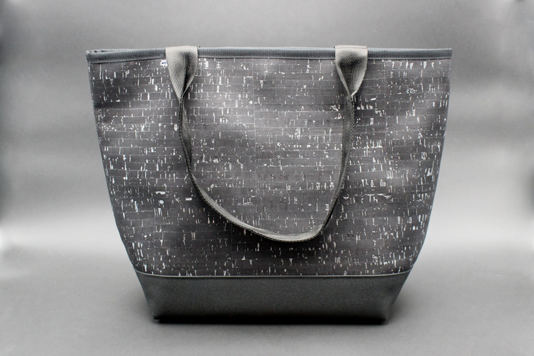 Signature Tote in Black Cork with Silver Dashes