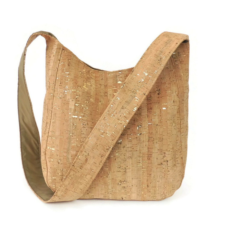 Sling Bag In Natural Cork with Silver Flecks