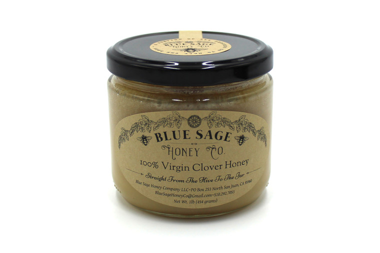 Blue Sage 100% Virgin Clover Honey - 1 Lb. Jar