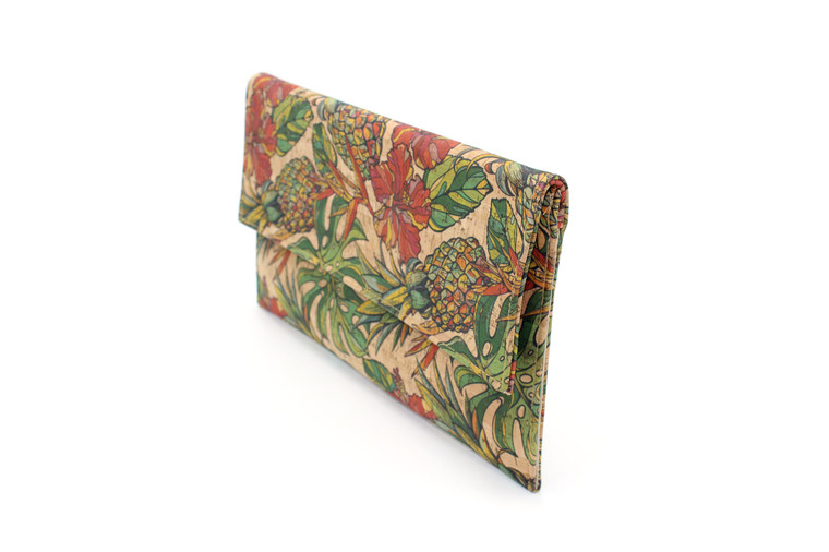 Folio Clutch in Cork with a fun tropical Pineapple Pattern