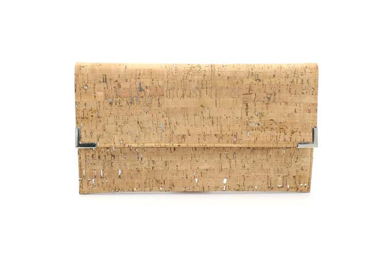 Folio Clutch in Natural Cork with Dashes of Silver