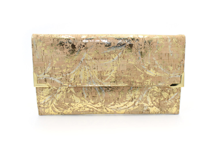 Folio Clutch in Cork with a Gold and Silver Floral Print