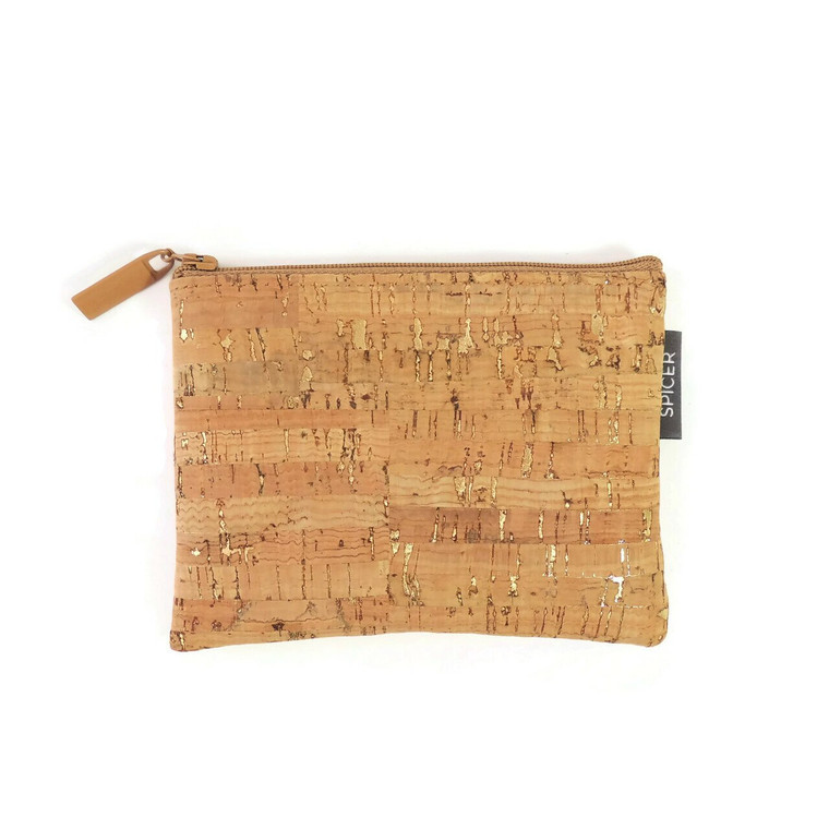 All-Purpose Pouch in Natural Cork with Gold Flecks
