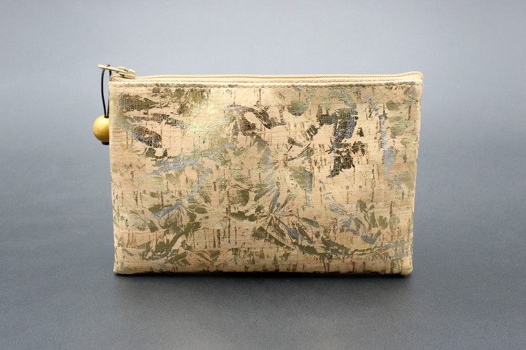 All-Purpose Pouch in Silver and Gold Floral Cork