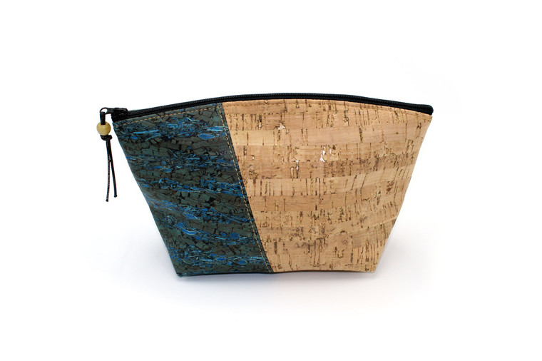 Standing Pouch  in Natural Cork & Blue Fennel Cork