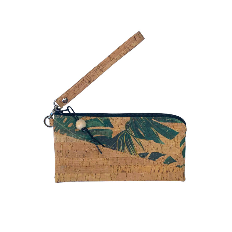 Phone Wristlet in Natural and Palm Cork