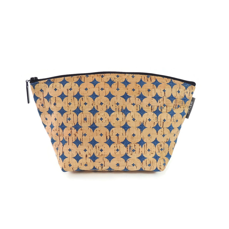 Large Standing Pouch in Denim Cork Dots