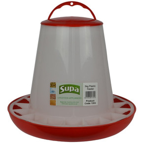 Supa Red and White Plastic Poultry Feeder