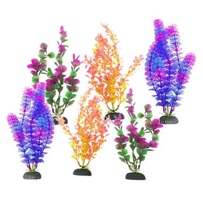 Fish R Fun, Plastic Plant & Base Assorted Coloured 6 Pack