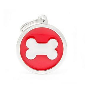 Red Big Circle Bone ID Tag