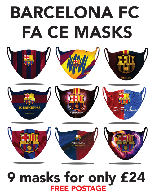 Barcelona Protective washable face masks. Fits kids or adults, 9pcs for only 24pounds