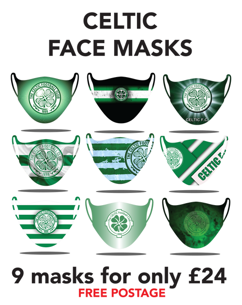 Celtic Protective washable face masks. Fits kids or adults, 9pcs for only 24pounds
