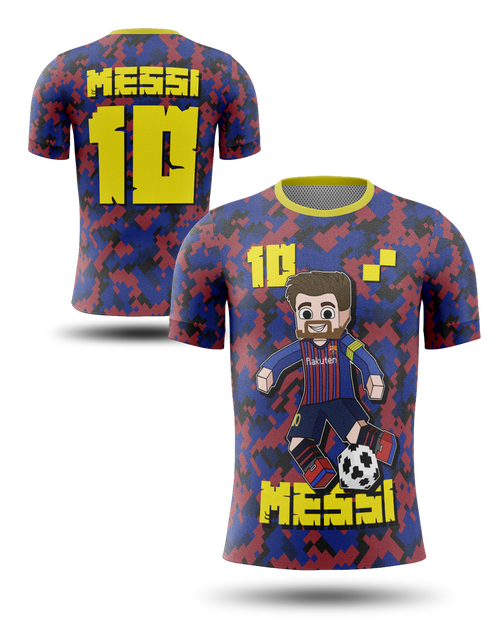 Exclusive Messi Meets Minecraft Barca Shirt