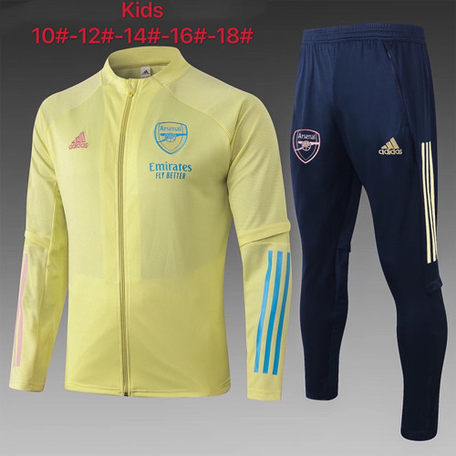 Arsenal kids tracksuit Set Zip Jacket and Trousers Yellow
