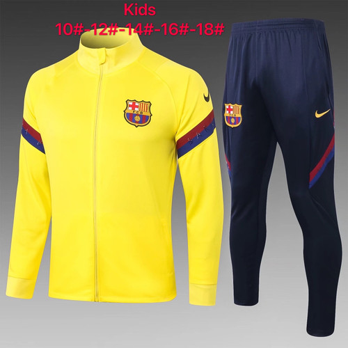 Barcelona kids tracksuit Set Zip Jacket and Trousers yellow