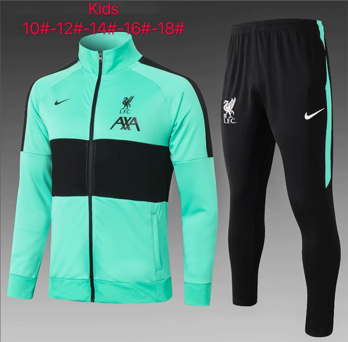 Liverpool kids tracksuit Set Zip Jacket and Trousers Green