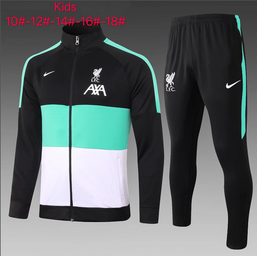 Liverpool kids tracksuit Set Zip Jacket and Trousers Black/green/white