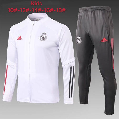 Real Madrid kids tracksuit Set Zip Jacket and Trousers White