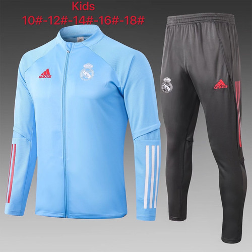 Real Madrid kids tracksuit Set Zip Jacket and Trousers light blue