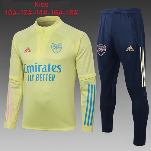 Arsenal kids tracksuit Set  half Zip Jacket and Trousers Yellow