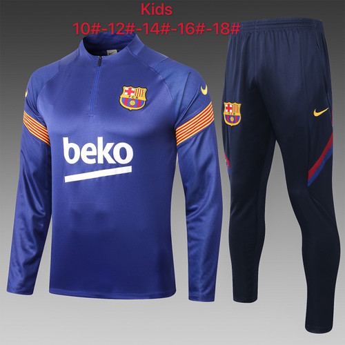 Barcelona kids tracksuit Set half Zip Jacket and Trousers Navy