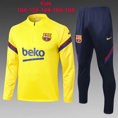 Barcelona kids tracksuit Set half Zip Jacket and Trousers yellow