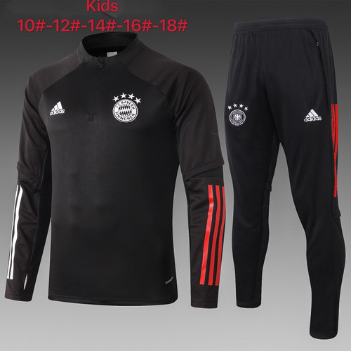Bayern kids tracksuit Set half Zip Jacket and Trousers Black