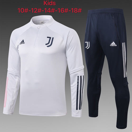 Juventus kids tracksuit Set Half Zip Jacket and Trousers White
